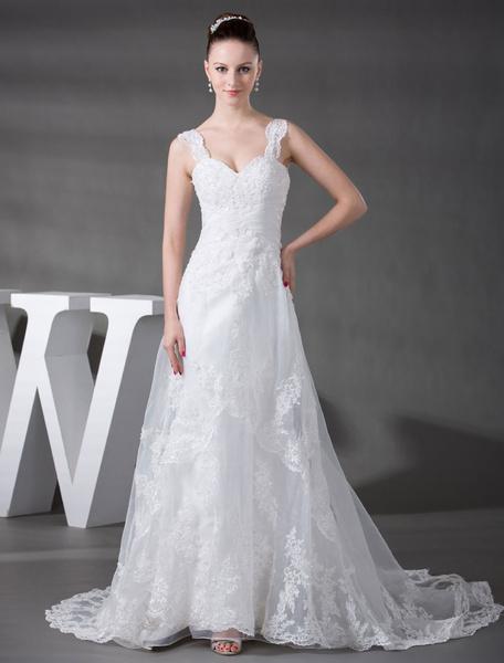 Milanoo Straps Wedding Dress Lace Applique Beading Organza Pleated A-Line Chaple Train Bridal Dress