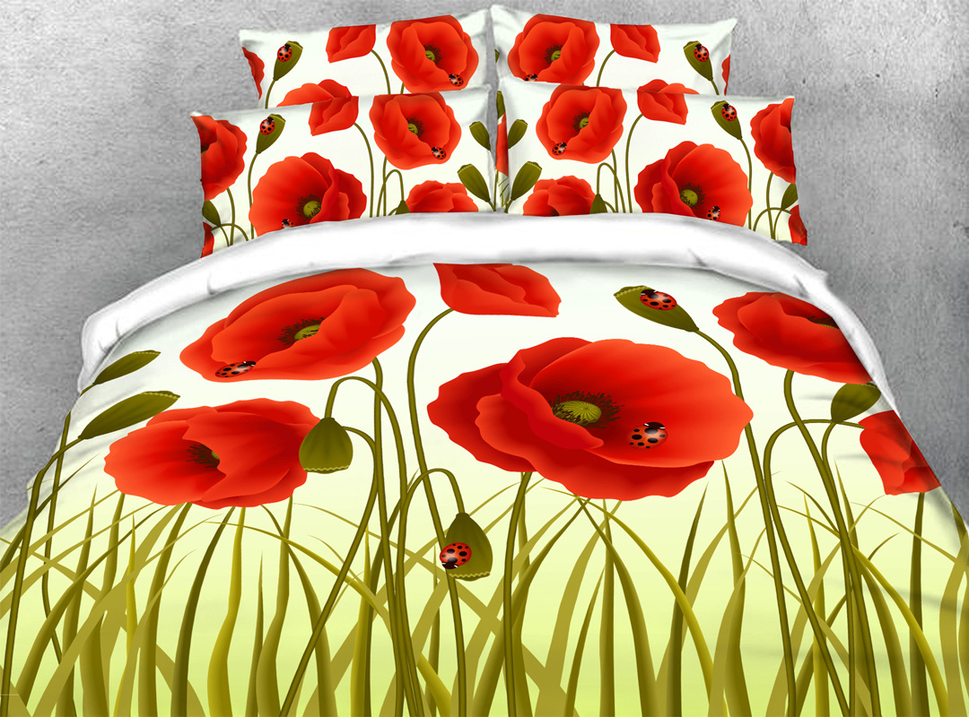 3D Poppy 4-piece No-fading Bedding Sets Durable Floral Digital Bedding Zipper Duvet Cover with Non-slip Ties