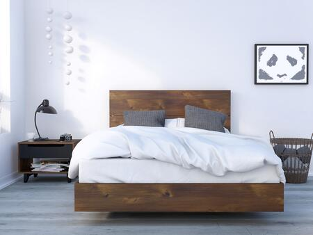 400959 Barista 3 Piece Full Size Bedroom Set with Platform Bed + Headboard + Nightstand  in Matte Black Lacquer And Truffle