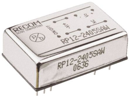 Recom RP12 AW 12W Isolated DC-DC Converter Through Hole, Voltage in 9 → 36 V dc, Voltage out 15V dc (7)