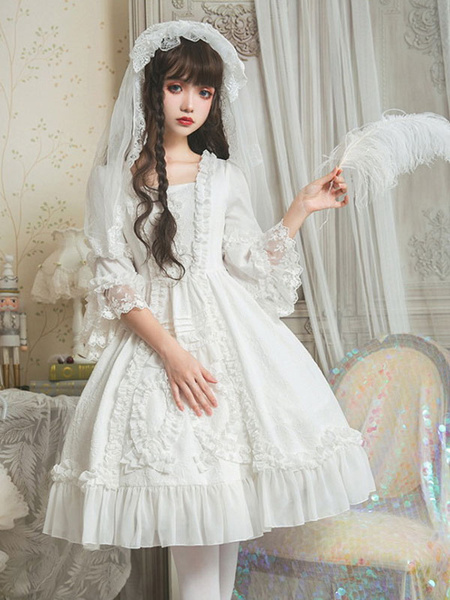 Milanoo Sweet Lolita JSK Dress Neverland Ruffles Faldas blancas tipo jersey de Lolita