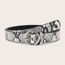 Guertel mit Schlangenleder Muster und runder Schnalle