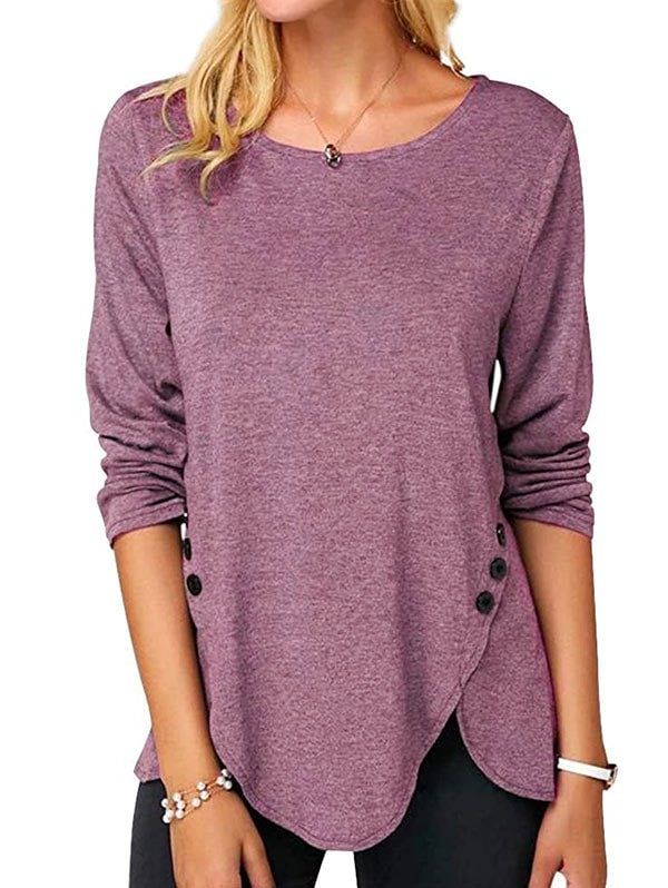 Buttoned Long Sleeve Slit Tee