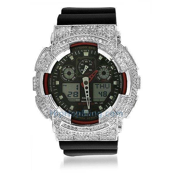 Custom Micro Pave Casio G Shock Watch GA100