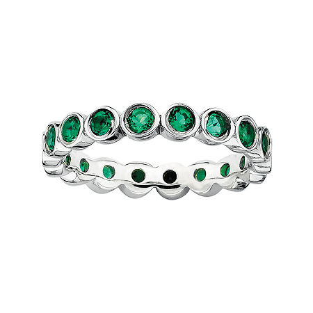 Personally Stackable Lab-Created Emerald Sterling Silver Eternity Ring, 5 , No Color Family