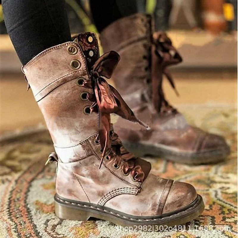 Ericdress Round Toe Plain Lace-Up Front Womens Casual Boots