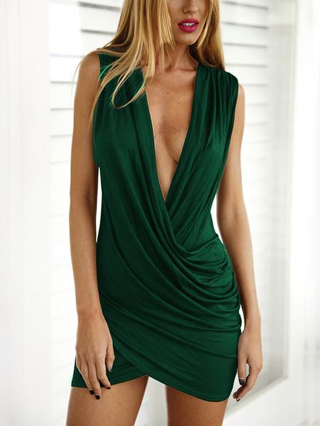 Yoins Green Crossed Front Design V-neck Sleeveless Sexy Dress