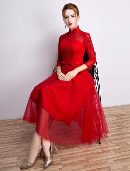 Milanoo Vestido de coctel con escote alto con 3/4 manga con botones