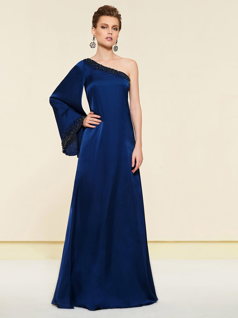 Ericdress One Shoulder Beading Mother of the Bride Dress