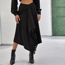 Tassel Trim Wrap Skirt