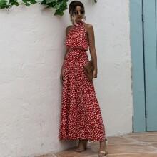Kleid mit Muster, Guertel und Neckholder