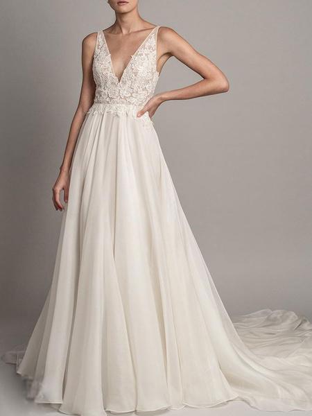 Milanoo Simple Wedding Dress 2020 A Line V Neck Sleeveless Beaded Bridal Dresses With Train