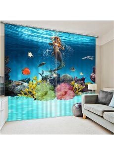 3D Delicay Mermaid and Colorful Corals Swimming Printed 2 Panels Custom Decoration Curtain