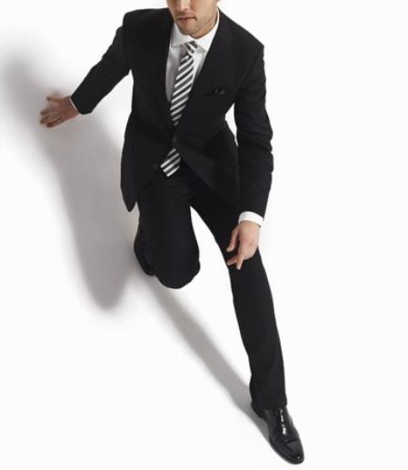 Authentic Zanetti 2 Button Black Tonal Stripe Wool Suit Front Slacks