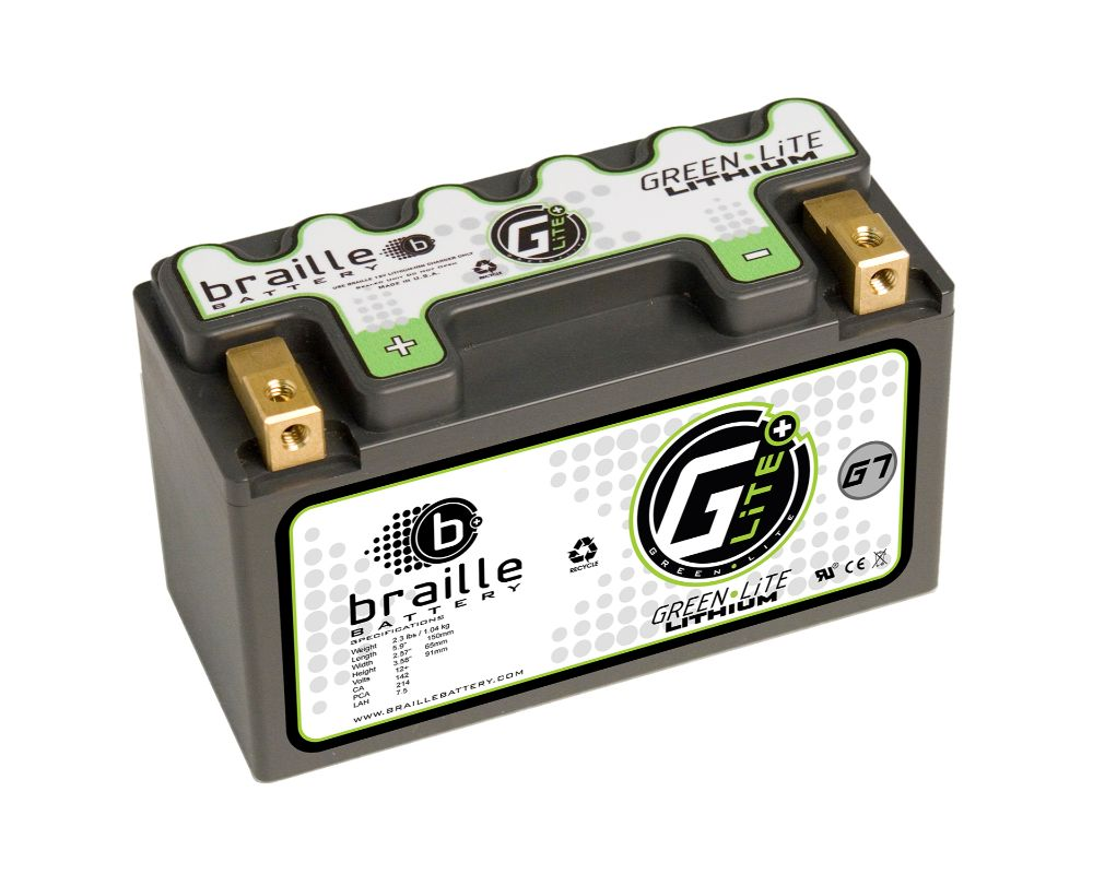 Braille Green Lite Lithium Ion Battery Left Side Positive 214 AMP 5.9 x 2.57 x 3.58 Inch