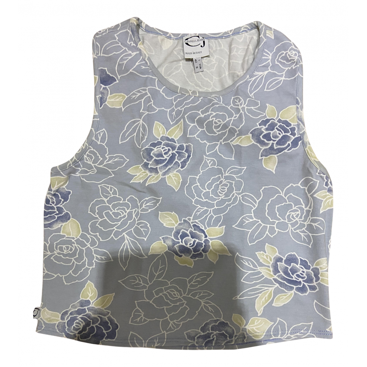 Just Cavalli N Blue Cotton  top for Women 42 IT