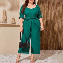 Plus Flounce Sleeve Belted Palazzo Jumpsuit
