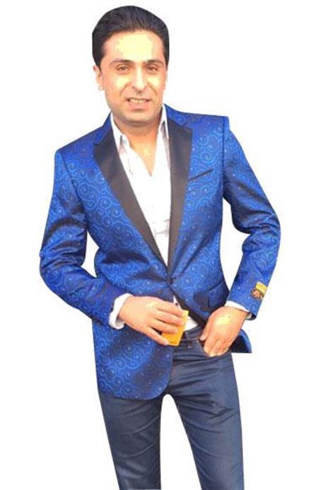 Nardoni Mens BlueSingle Breasted Paisley blazer sport coat jacket