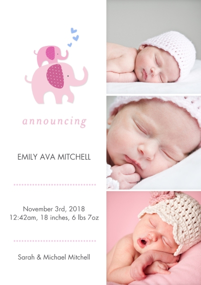 Baby Announcements Flat Matte Photo Paper Cards with Envelopes, 5x7, Card & Stationery -Baby Elelphants & Hearts Portrait