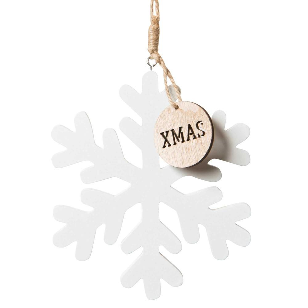 Weihnachtsdeko weisse Schneeflocke zum Aufhaengen aus Holz
