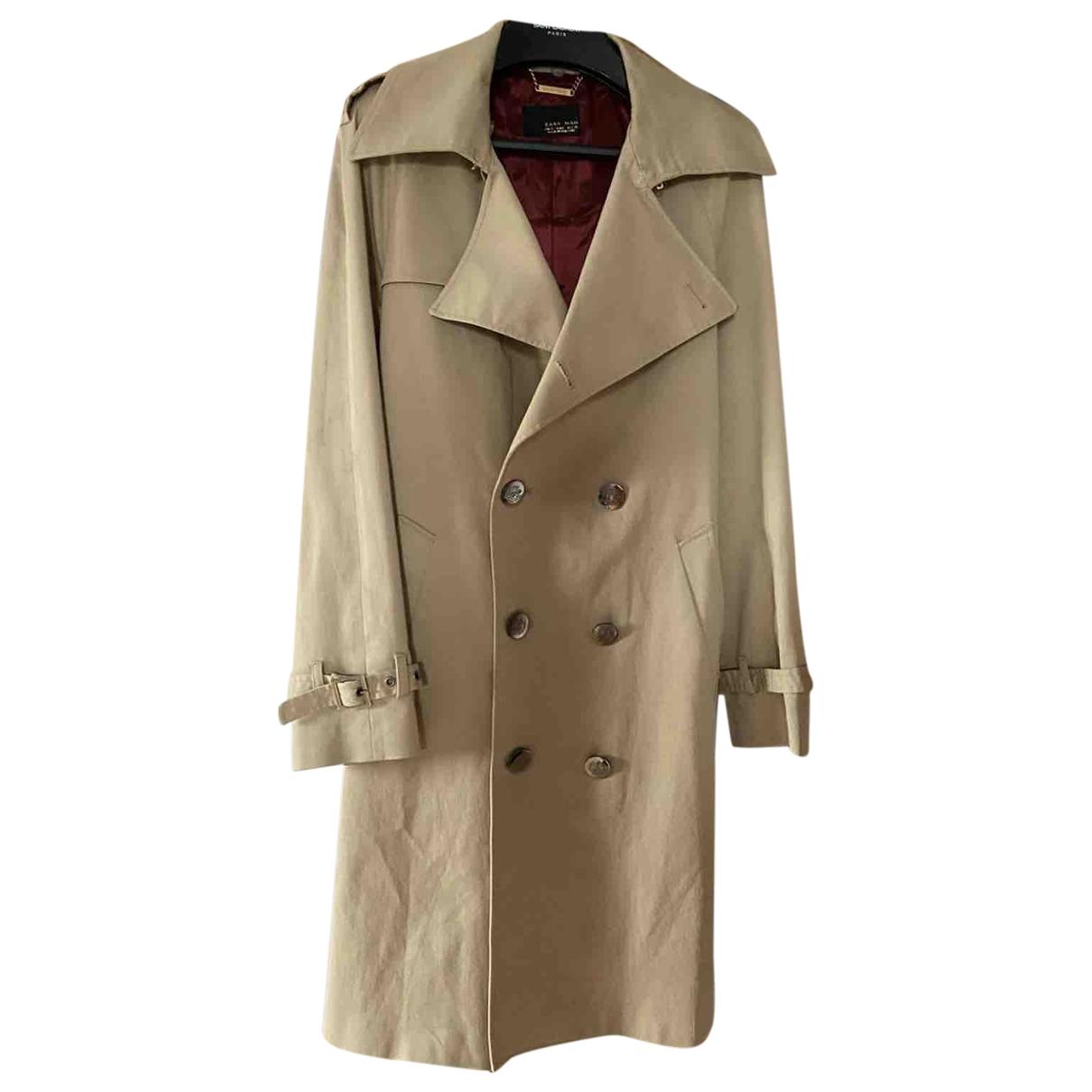 Zara - Manteau   pour homme en coton - beige