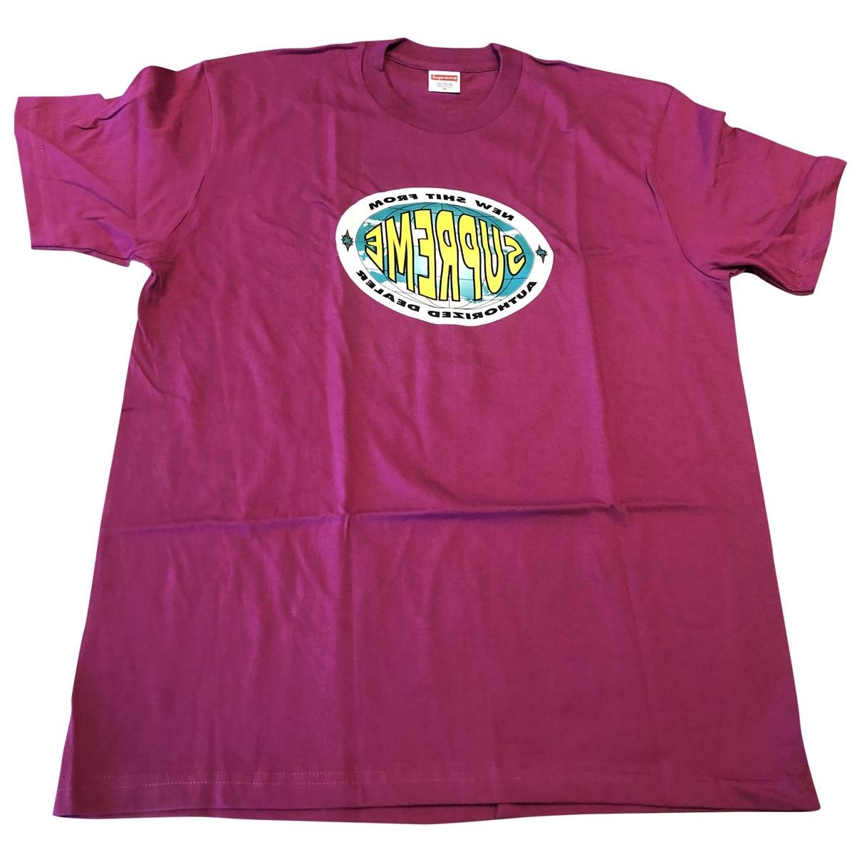 Supreme \N T-Shirts in  Bordeauxrot Baumwolle