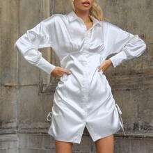 Satin Shirt Kleid mit Rueschen und seitlichem Kordelzug