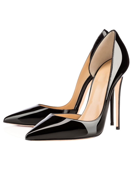 Milanoo Pointed Toe Stiletto High Heels Women Dress Shoes Sexy Black Basic Pumps