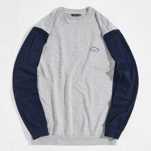 Men Letter Graphic Colorblock Pullover