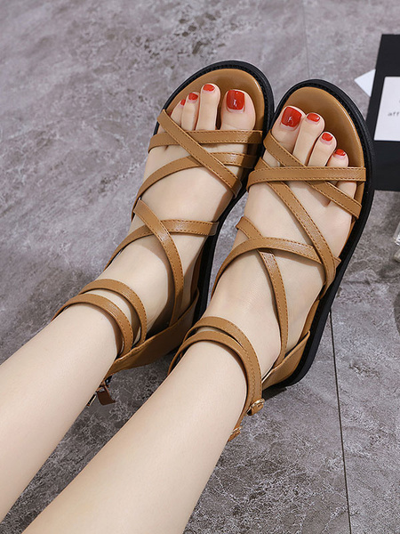Milanoo Strappy Flat Sandals Beach Gladiator Sandals Women\\s Shoes
