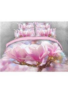 Pink Magnolia Flower Duvet Cover 3D Printed 4-Piece Floral Bedding Sets/Duvet Cover Set