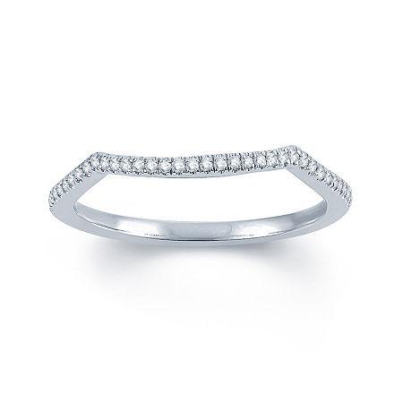 Modern Bride Signature 1/10 CT. T.W. Genuine White Diamond 14K Gold Round Wedding Band, 8 , No Color Family