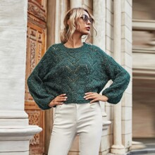 Open Knit Bishop Sleeve Sweater