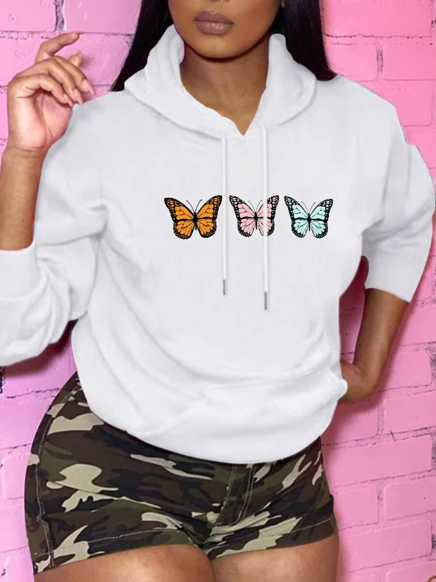 LW Lovely Casual Hooded Collar Butterfly Print White Hoodie