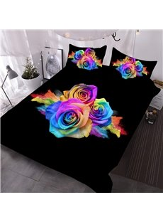 Flaming Flowers Printed 3-Piece 3D Steady Black Comforter Sets