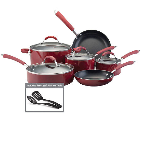 Farberware Millennium 12-pc. Porcelain Nonstick Cookware Set, One Size , Red