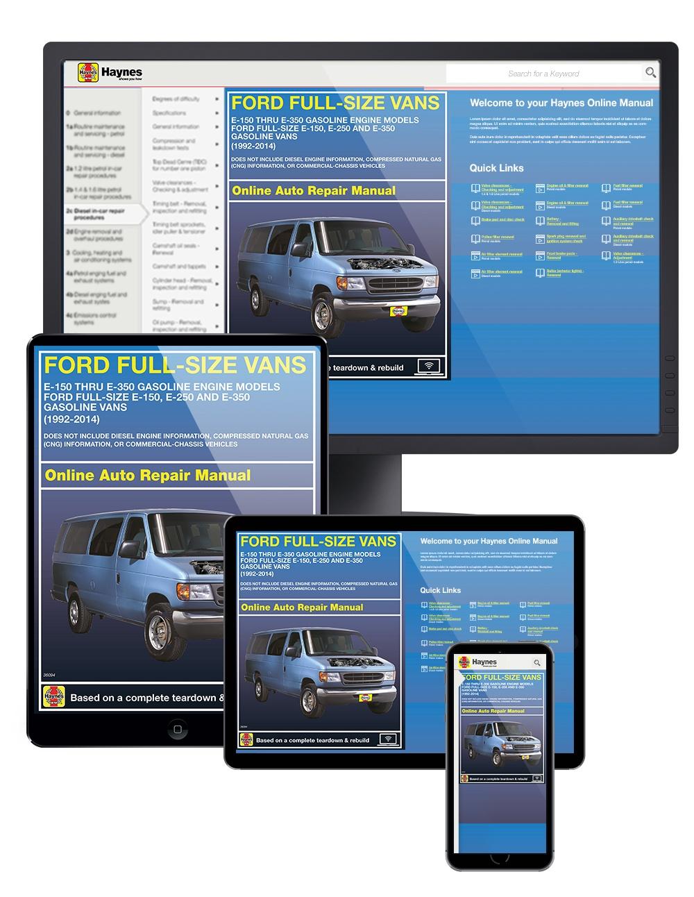 Ford E-150 thru E-350 Full-size Vans (92-14) Haynes Online Manual