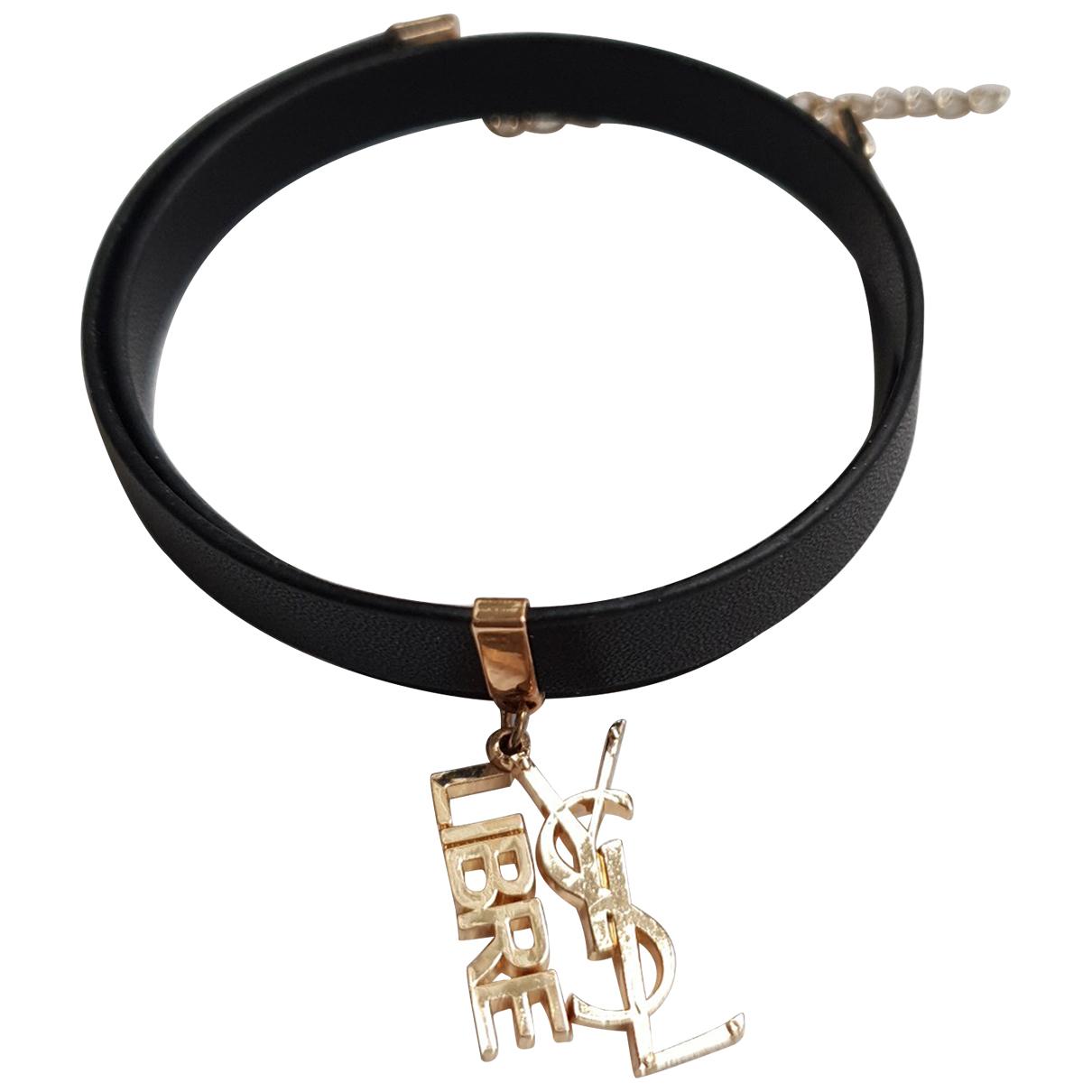 Yves Saint Laurent - Bracelet   pour femme en cuir - noir