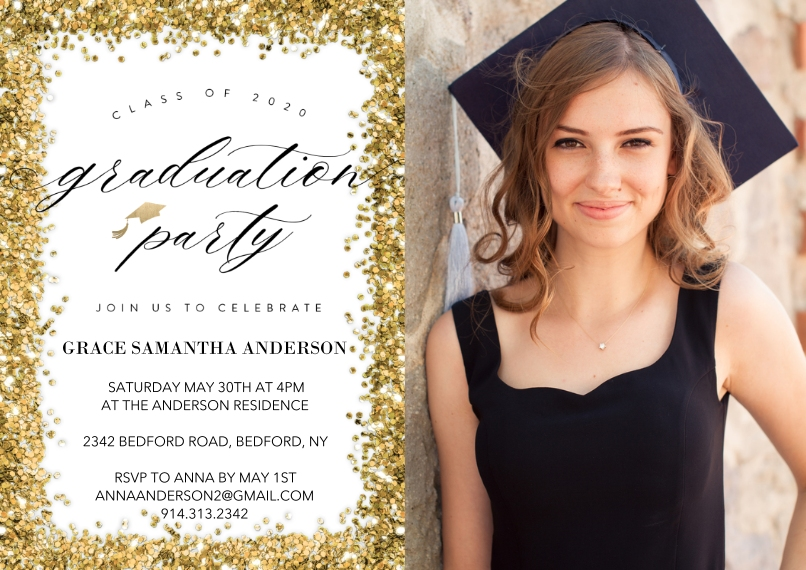 Graduation Invitations 5x7 Cards, Premium Cardstock 120lb with Scalloped Corners, Card & Stationery -2020 Graduation Party by Tumbalina
