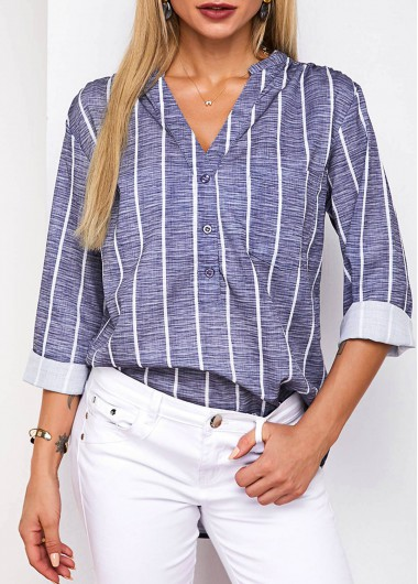 Button Detail Striped Split Neck Blouse - L