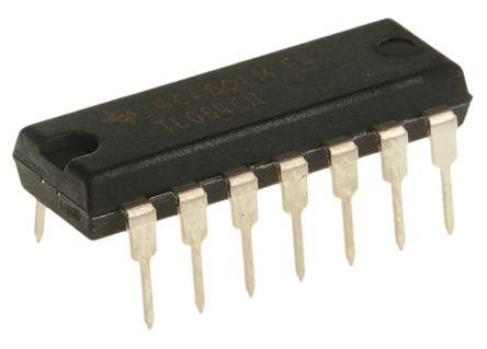Texas Instruments TL064CN , Op Amp, 1MHz, 14-Pin PDIP (25)