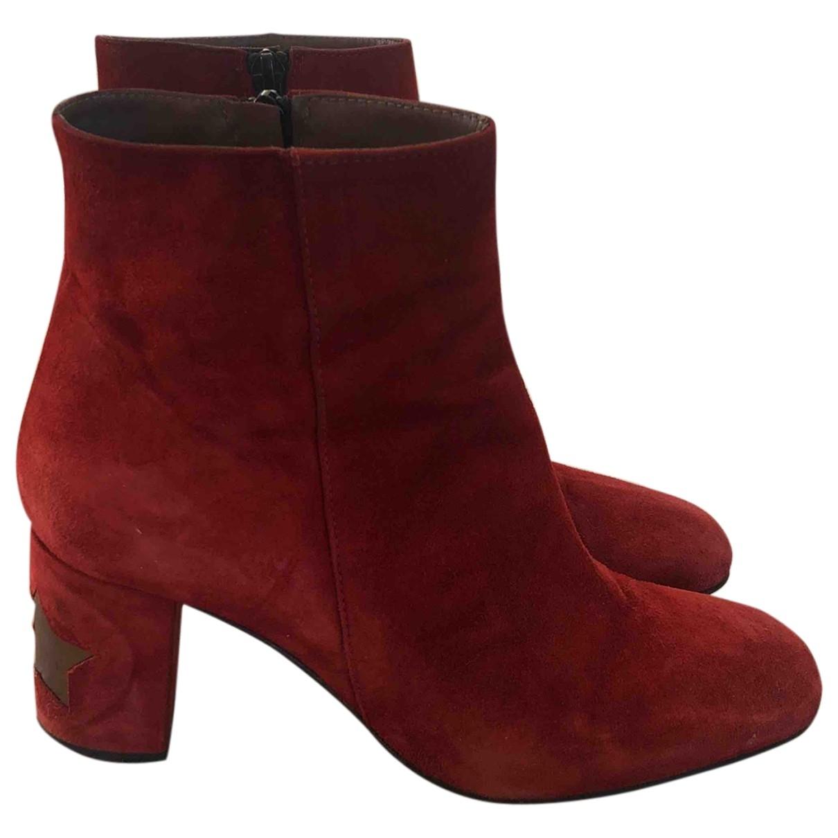 - Boots   pour femme en suede - orange