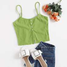 Button Front Lettuce Edge Cami Top