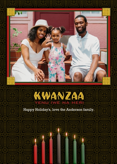Kwanzaa Photo Cards 5x7 Cards, Premium Cardstock 120lb with Scalloped Corners, Card & Stationery -Kwanzaa Candles