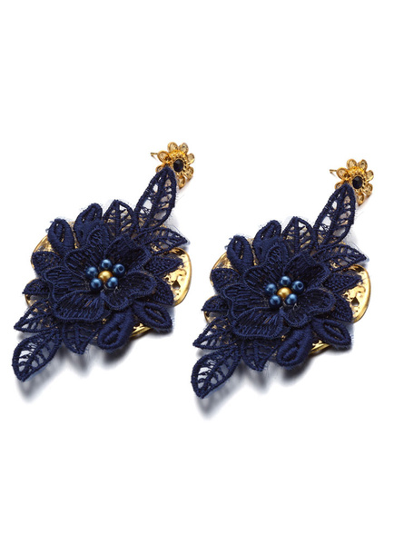 Milanoo Azul real apliques pendiente perla tachonada de joyeria de la boda nupcial (8 Cm X 3 Cm X 1 Cm)