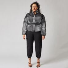 Plus High Neck Push Buckle Belted Houndstooth Padded Jacket