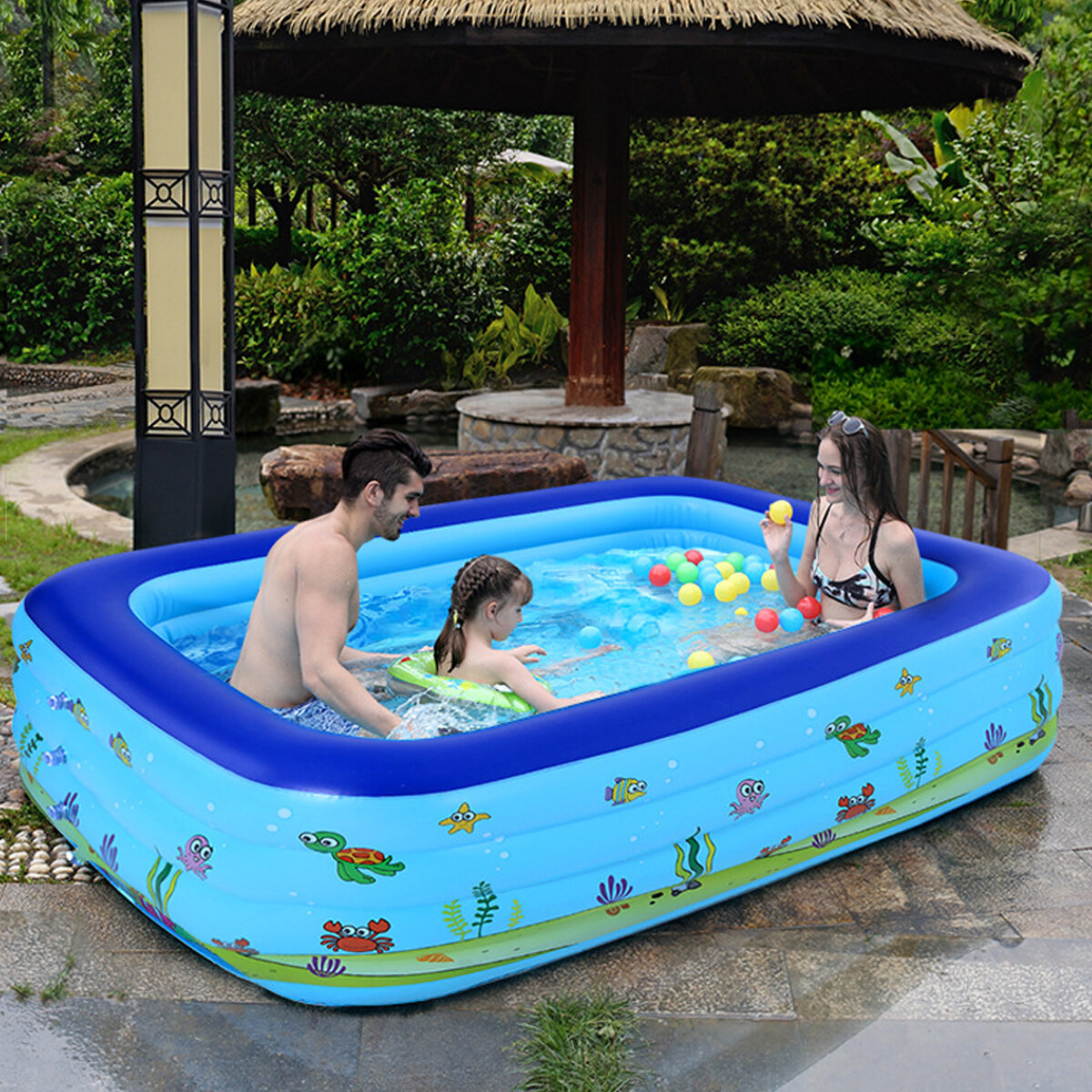 Childrens Inflatable Swimming Pool Adult Home Paddling Pool Thickened Wear-Resistant Marine Ball Inflatable Swimming Po