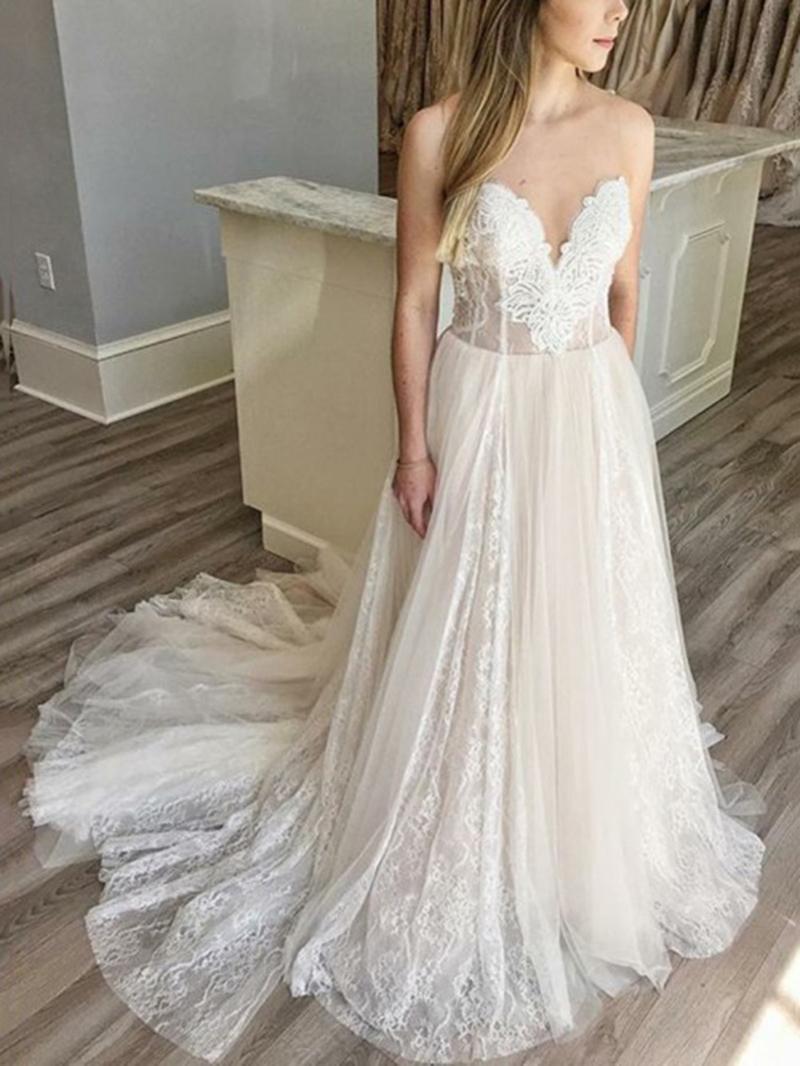 Ericdress Sweetheart Neck Lace Wedding Dress