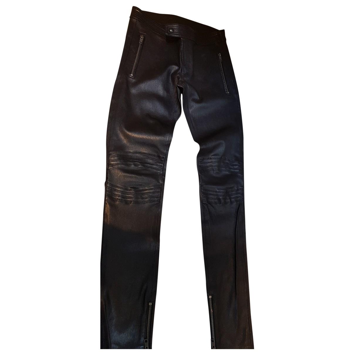 Joseph \N Black Leather Trousers for Women 34 FR