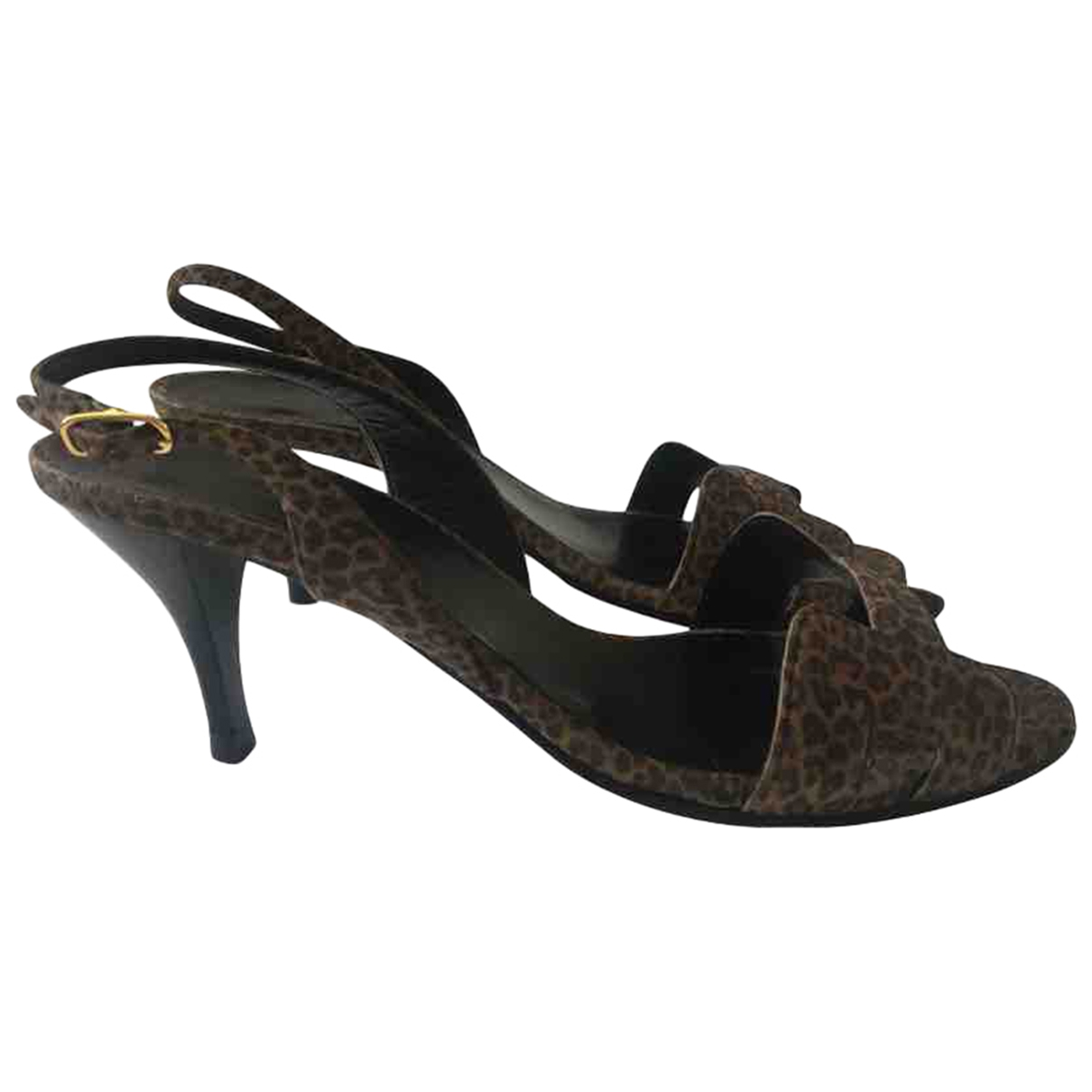 Hermes Night Sandalen in  Schwarz Veloursleder